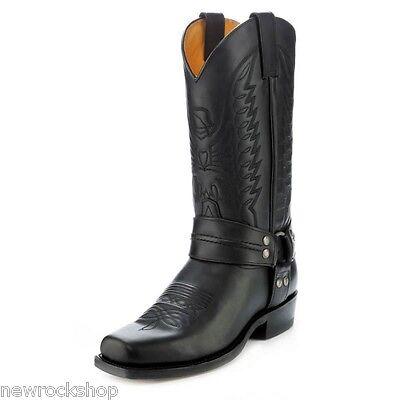 87135413a45 Sendra 2621 Men Cowboy Leather Boots Bike Black Western Biker Boot   eBay