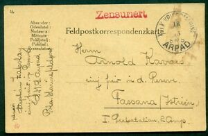 "1915, Hungary Naval Card, ship ""ARPAD"", circular date cancel and bold red line"
