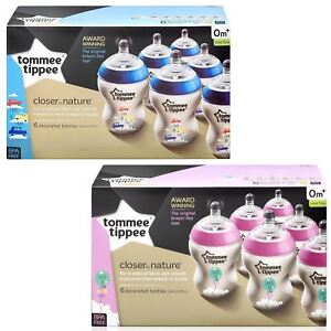6-Tommee-Tippee-Closer-Nature-Baby-Feeding-Bottle-260ml-Decorated-Pack-Pink-Blue