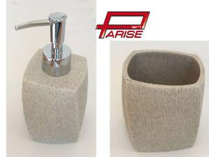 Set accessori bagno appoggio resina effetto pietra beige arredo ebay