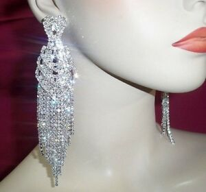 Clear rhinestone ab crystal chandelier earrings drag queen pageant clear rhinestone ab crystal chandelier earrings drag queen mozeypictures Choice Image