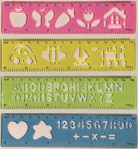 Lot de 4 Combo Pochoirs Modèles dirigeant Upper alphabet chiffres 4 pcs