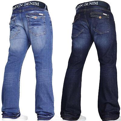 Liberale Von Denim Designer Da Uomo Jeans Bootcut Svasato Stretch Gamba Larga Pantaloni Cintura Taglie-mostra Il Titolo Originale