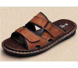 Genuine-Leather-Mens-Slip-On-Casual-Beach-Sandals-Shoes-UK-Size-5-11-Comfort-B-4