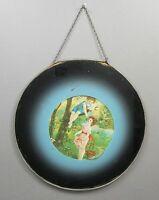 Antique Victorian Chimney Flue Cover Glass Litho Print Children Boy Girl Garden