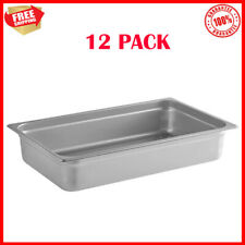 12 Pack Full Size Anti Jam Stainless Steel Steam Table Hotel Food Pans 4 Deep
