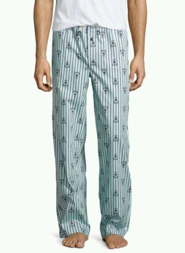 Psycho Bunny Mens Woven Lounge Pant  Navy Blue Bunny Stripe NWT Medium Large