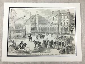 1855-Print-Queen-Victoria-Paris-Railway-Station-France-French-Imperial-Train
