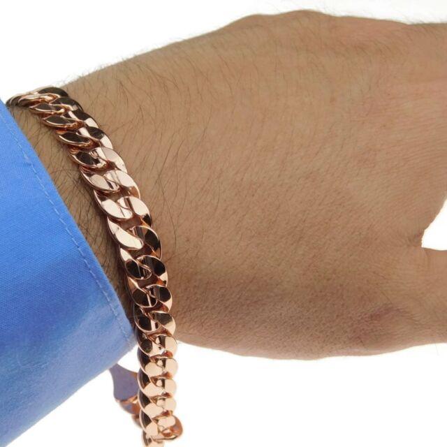 14k Rose Gold Plated Bracelet Curb Cuban Link 9mm Hip Hop Men S Miami 9 Inch