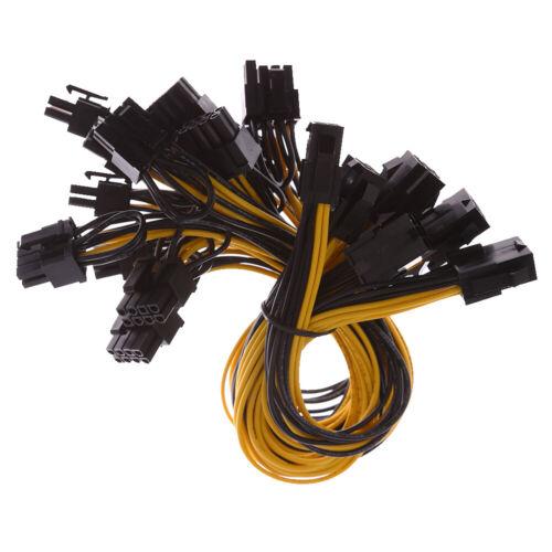 6Pcs 18AWG PCI-E 6pin to Dual 8pin Y-Splitter Cable For GPU Mining ZCASH ZEC