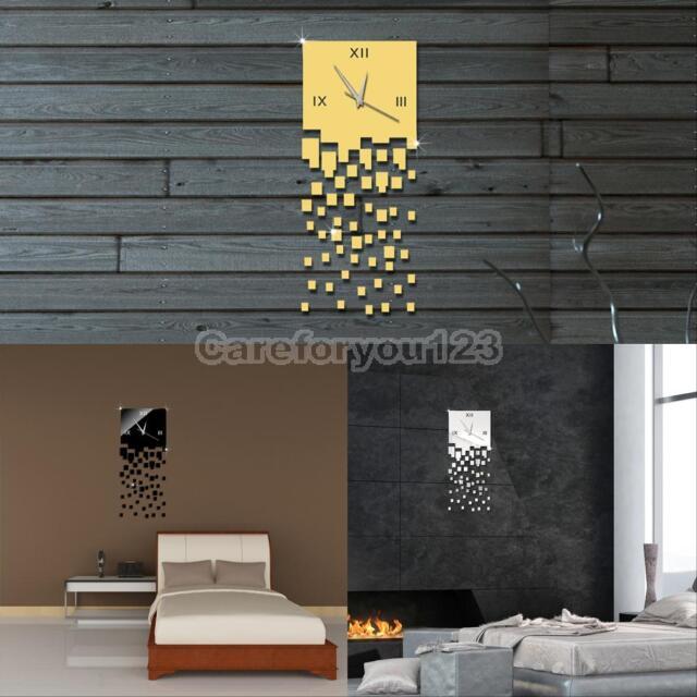 Unique 3D Mirror Acrylic Wall Clock Modern Design Home Decor Watch Wall Sticker