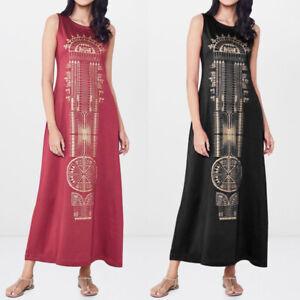 S-5XL-Women-Sleeveless-Bohemia-Long-Maxi-Shirt-Dress-Summer-Beach-Party-Sundress