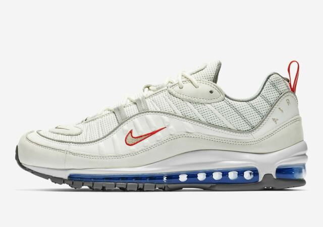 3a867900acef2 Nike Air Max 98 Summit White Size 9 Metallic Silver Red Blue Cd1538 ...