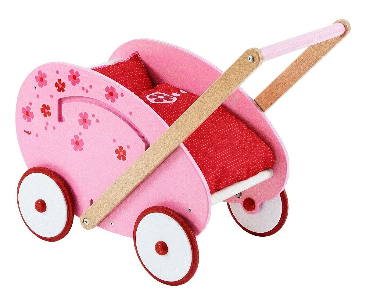 HABA bambole carrello FIORI sogno   Carrello Bambole in Legno   bambole lauflernwagen