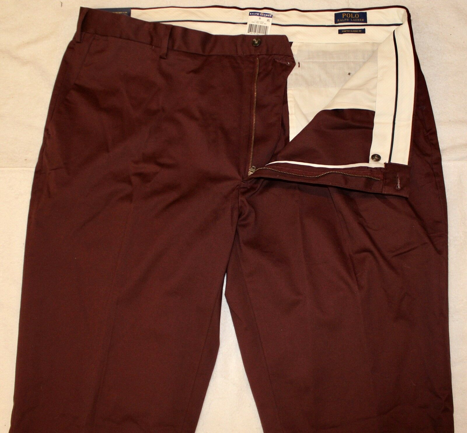 Polo Ralph Lauren Big and Tall Mens Maroon Flat-Front Dress Pants NWT 42 T x 38