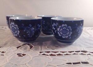 PIER-1-SAKE-CUPS-MANDARIN-TEA-SET-4-CUPS-BLUE-amp-WHITE