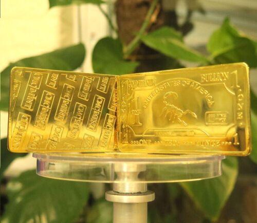1 oz USA Scorpion .999 Pure Titanium Gold Plated Bullion Bar Ti Element