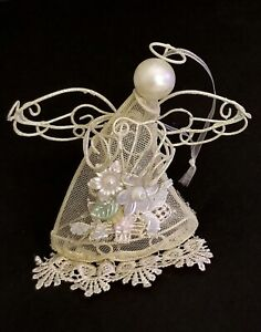 VINTAGE-CREAM-OFF-WHITE-WIRE-ANGEL-CHRISTMAS-LACE-TULLE-ORNAMENT-FLOWER-DETAIL
