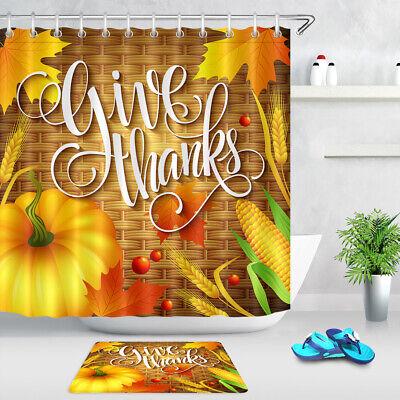 Happy Thanksgiving Day Fall Harvest Turkey Shower Curtain Liner Bathroom Decor