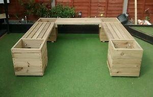 huge u shape or l shape corner garden bench planter ebay. Black Bedroom Furniture Sets. Home Design Ideas