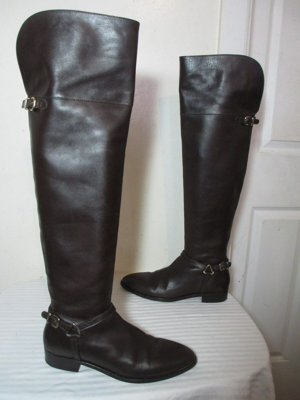 UTERQUE BROWN LEATHER BUCKLED HARNESS OVER THE KNEE ZIP BOOTS SZ 39 US 8.5