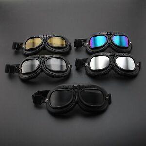 Retro-Vintage-Black-Motorcycle-Helmet-Eyewear-Goggles-Scooter-Pilot-Flying-Glass