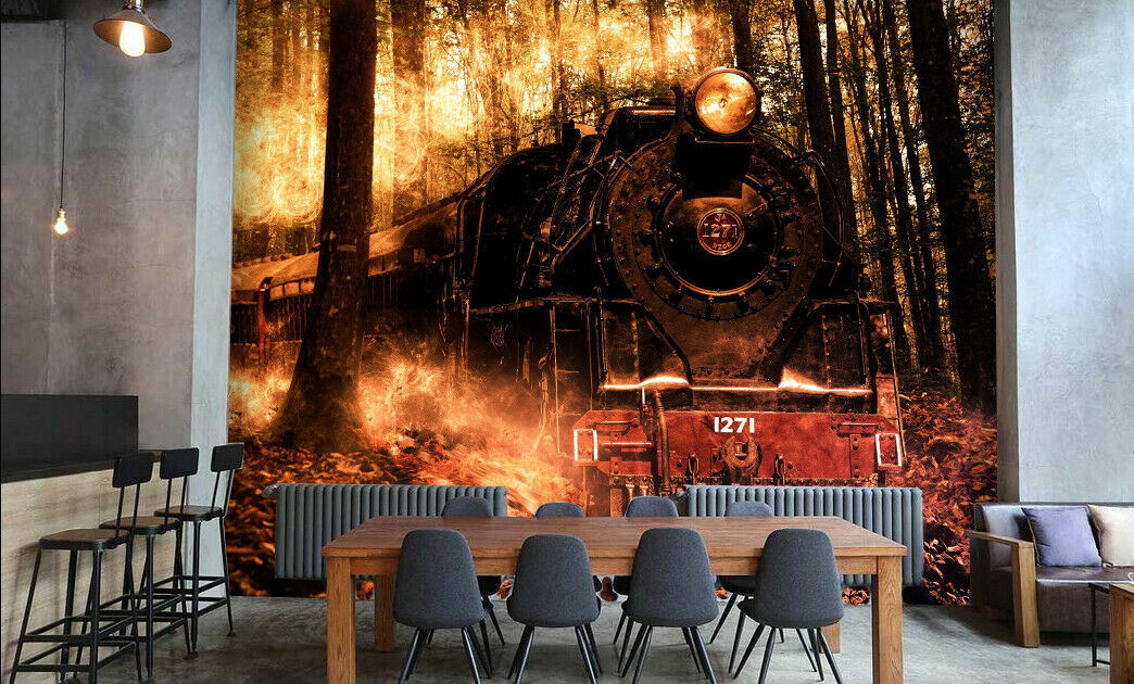 3D Train Forest 49 Wallpaper Murals Wall Print Wallpaper Mural AJ WALLPAPER UK