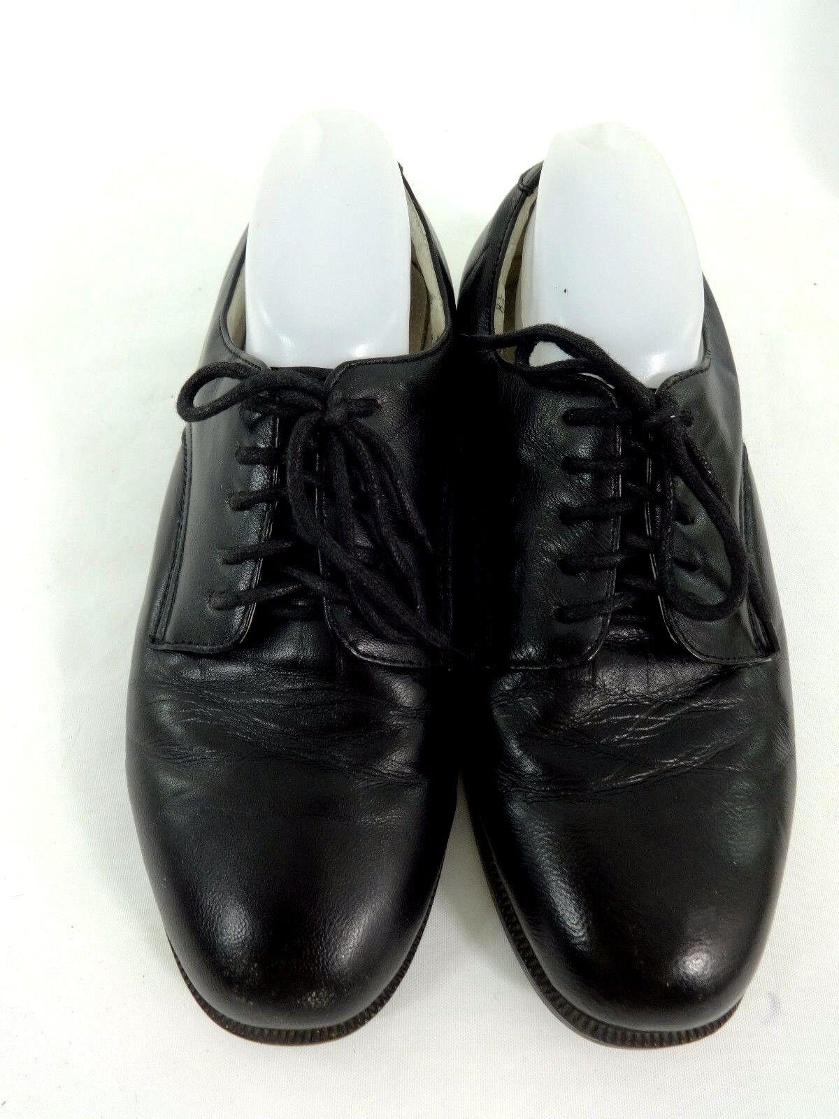 AMBASSADOR MENS BLACK LEATHER COMFORT OXFORDS DRESS SHOES SIZE 8.5 M