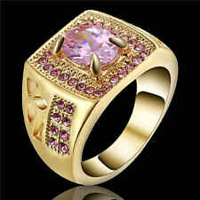 Fashion Pink Zircon Yellow 18K Gold Filled Wedding Jewelry Ring  Size 9