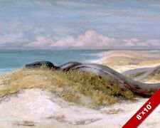 LAIR OF THE GIANT SEA SERPENT SNAKE ELIHU VEDDER PAINTING ART REAL CANVAS PRINT