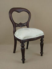 Antique reproduction Queen Anne style wood Doll chair with beige upholstery