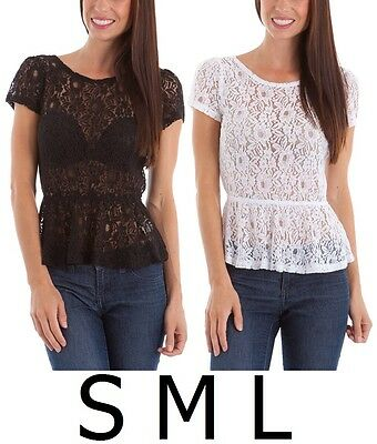 Women's BLACK WHITE Floral Lace Short Sleeve Sheer Peplum Top Sizes S M L
