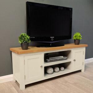 Image Is Loading Cotswold Cream Painted Large Oak Tv Unit Plasma