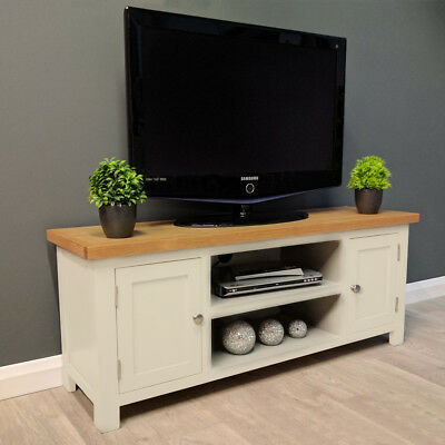 newest b663c ee9a2 Cotswold Cream Painted Large Oak TV Unit / Plasma / Solid Wood / TV Stand /  New 4933963110508 | eBay