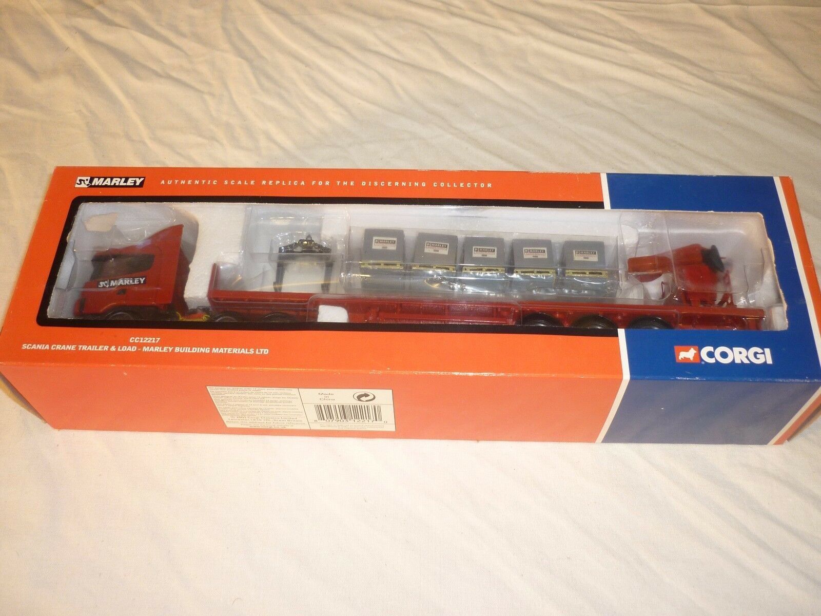 CORGI CC12217, Scania, crane trailer with load, Marley building material.
