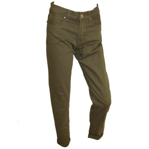 Women/'s Mid Rise Cropped roulé Ourlet Décontracté Skinny Leg Jeans vert kaki