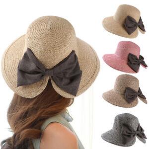 8c6b0cb5697ad9 Fashion Summer Women Lady Wide Brim Beach Cap Bucket Straw Bowknot V ...