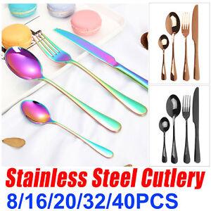 8-16-20-32-40-PCS-Stainless-Steel-Cutlery-Set-Rainbow-Gold-Knife-Fork-Tea-Spoon