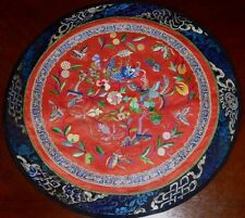Antique Chinese Dragon and Phoenix Embroidered Round Decorative Textile Panel