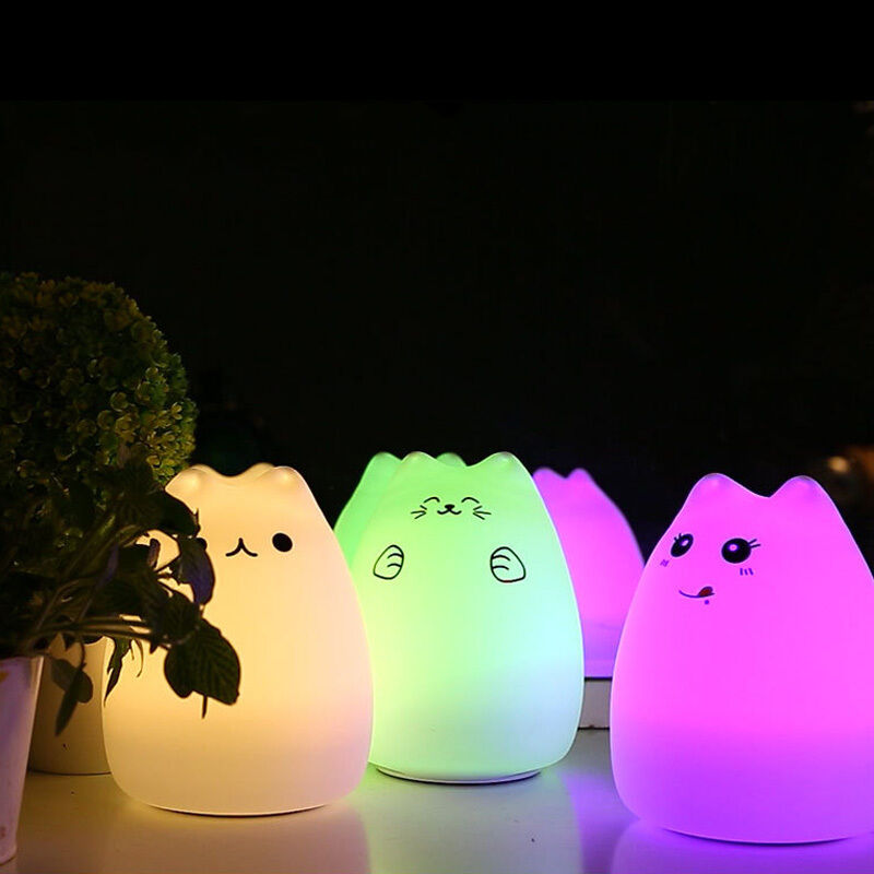 Color Changing Baby Kids Led Night Light Cat Cartoon Table