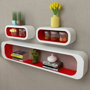 3-MDF-Floating-Cubes-Wall-Storage-Book-CD-Display-Shelves-Square-White-red
