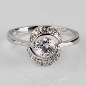 18K WHITE GOLD FILLED WHITE CUBIC CUT TOPAZ ROUND WITH ZIRCONIA M