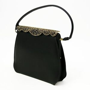 Image Is Loading Vtg Black Vinyl Frame Pocketbook Handbag Purse Evening