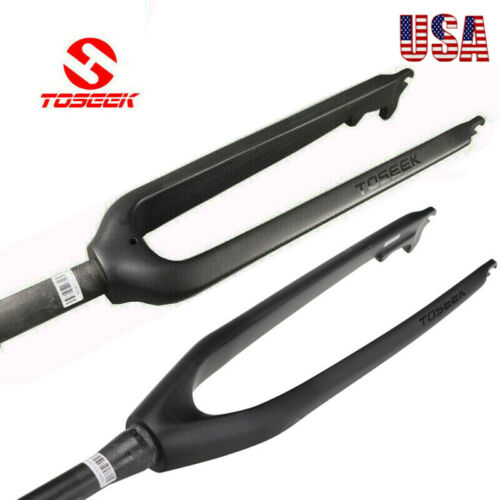 "26//27.5//29/"" MTB Bike Straight Tapered Rigid Forks 1-1//8/"" Carbon Fiber Disc Front"
