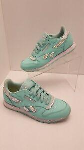 Reebok Classic Leather Mint Pastel Women Shoes Fashion Sneakers Sizes 5.5