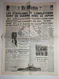 N1136-La-Une-Du-Journal-Le-Matin-9-decembre-1941-Etats-Unis-l-039-Angleterre
