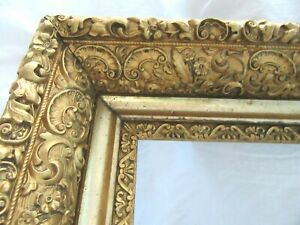 BIG-ANTIQUE-FITS-14-X-18-034-GOLD-PICTURE-FRAME-ORNATE-GESSO-WOOD-FINE-ART-COUNTRY