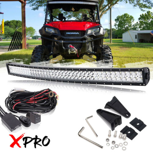 "Free Wiring for HONDA Arctic Cat Wildcat Trail X 42/"" inch Curved LED Light Bar"