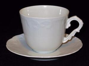 Vista-Alegre-Fine-Porcelain-EMA-Portugal-Manueline-White-Cup-amp-Saucer-Set