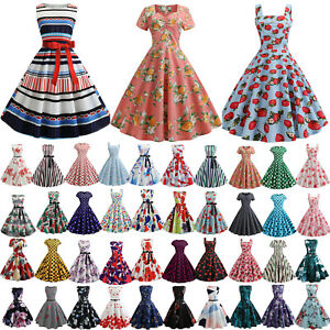 Womens-1950s-60s-Vintage-Rockabilly-Evening-Prom-Party-Summer-Skater-Swing-Dress